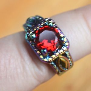 Jewelry - Red Ruby 18KT Rainbow Gold Filled Ring size 6 GF